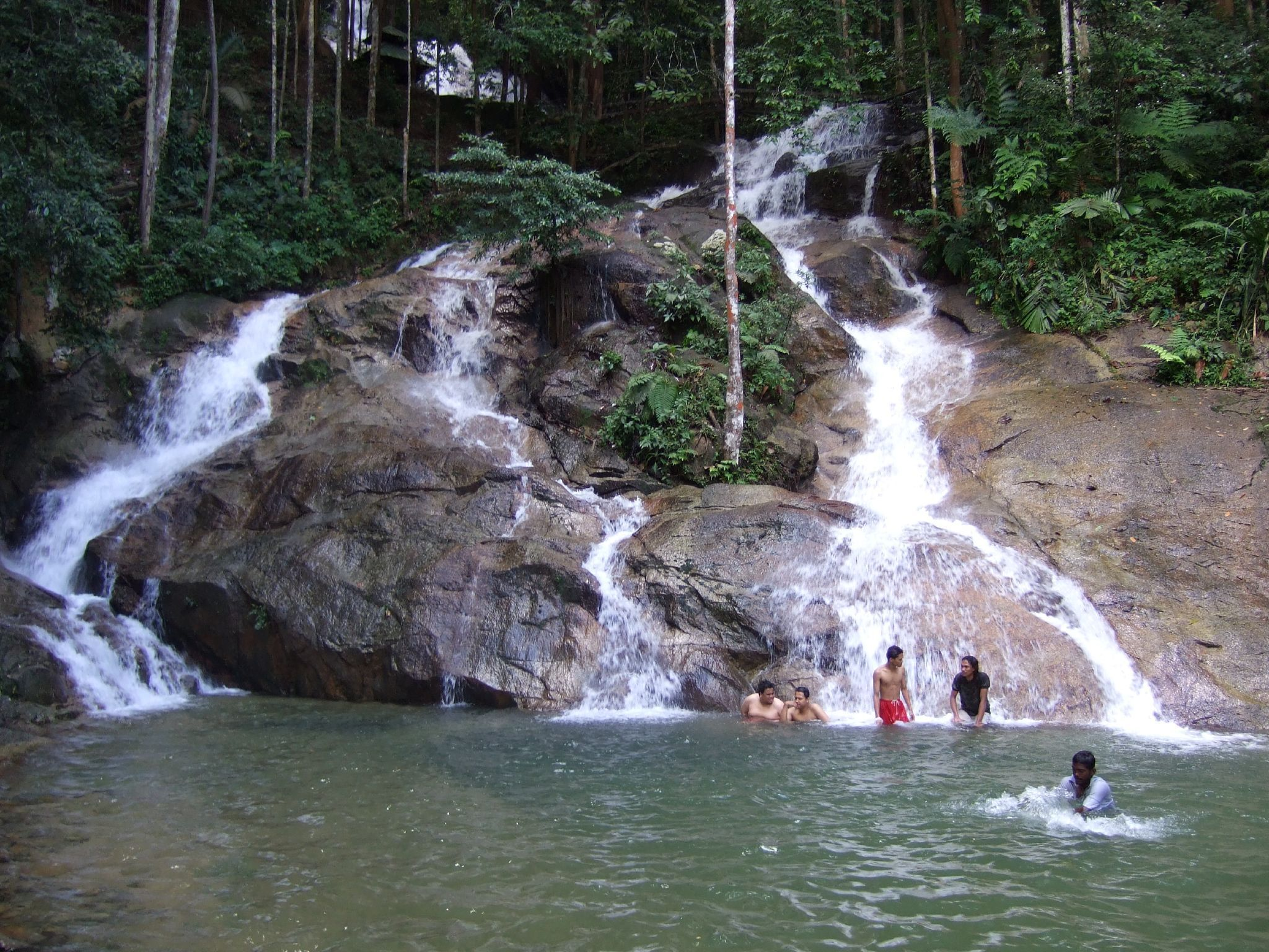 Swimming at waterfalls